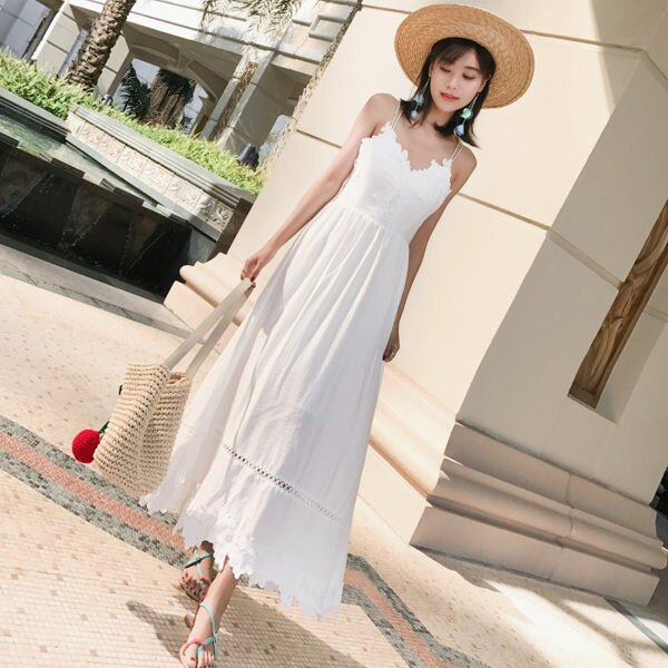 PS Mall 海邊渡假露背顯瘦沙灘裙連身裙 洋裝【T044】 1