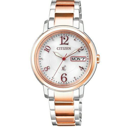 方采鐘錶:CITIZENXC優雅甜美光動能計時時尚玫瑰金腕錶EW2424-68A