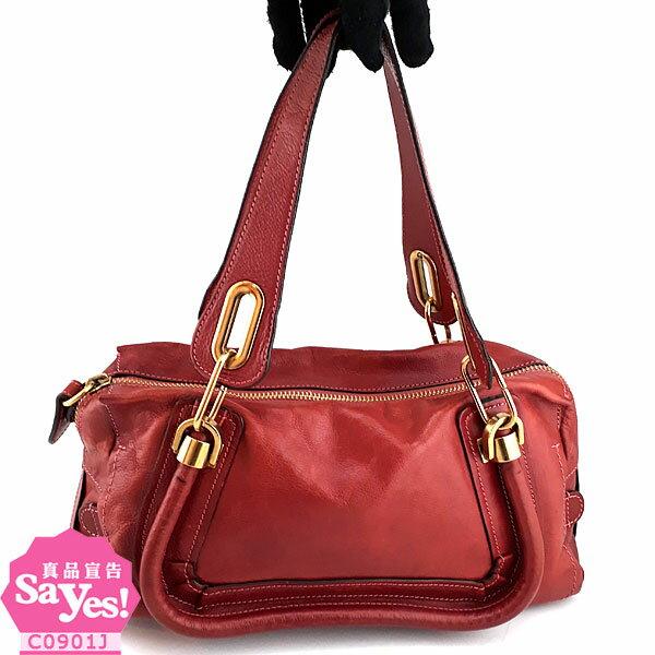 【奢華時尚】秒殺推薦!Chloe 玫瑰紅色粒面牛皮肩背寬版Paraty 波士頓包(八成新)#21905