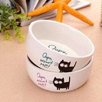 【小樂寵】Elite 卡通小黑貓白色陶瓷碗
