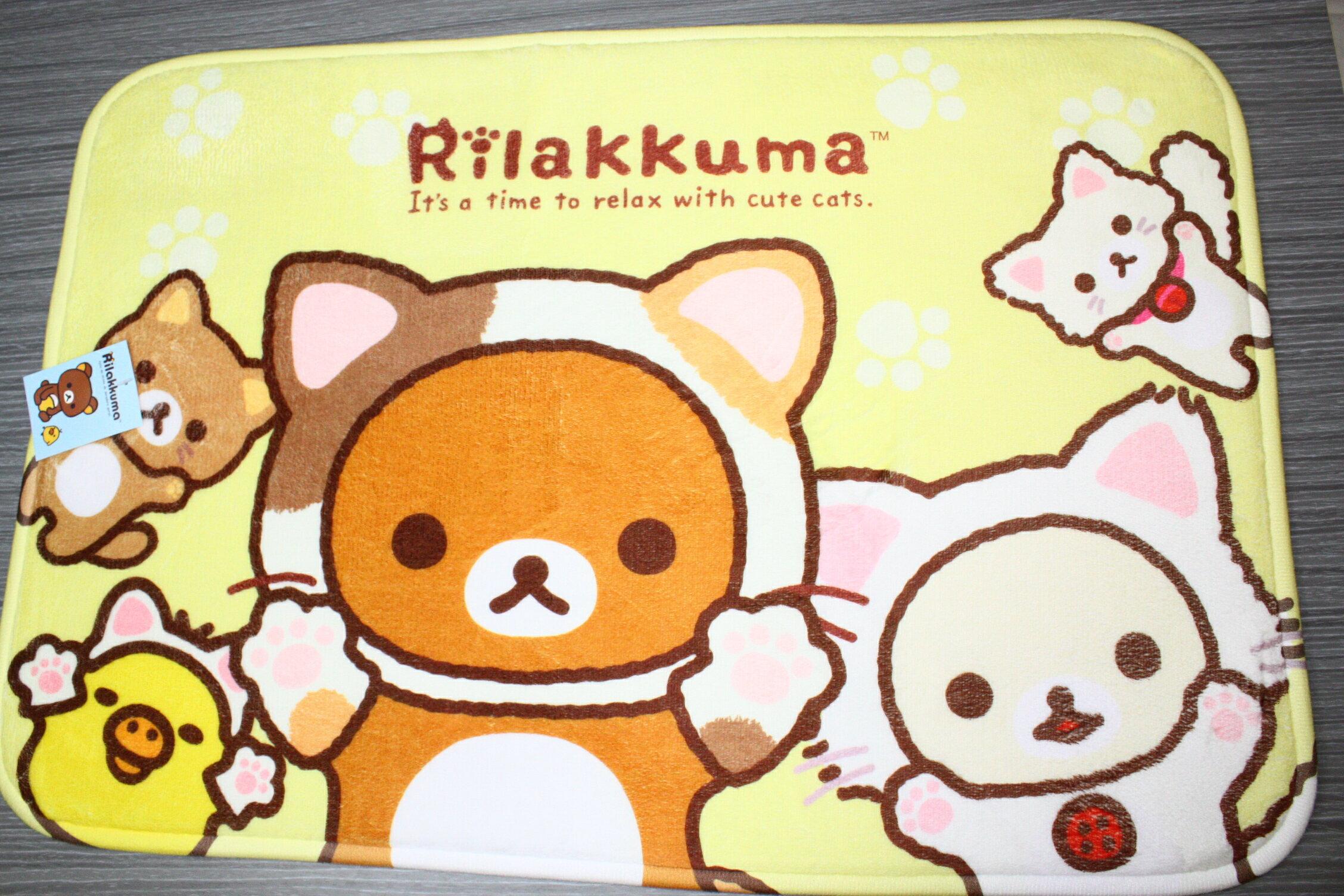 大賀屋 拉拉熊 地墊 貓咪 防滑 地毯 墊子 止滑墊 腳踏墊 懶懶熊 輕鬆熊 san-x 正版 授權 T00120267