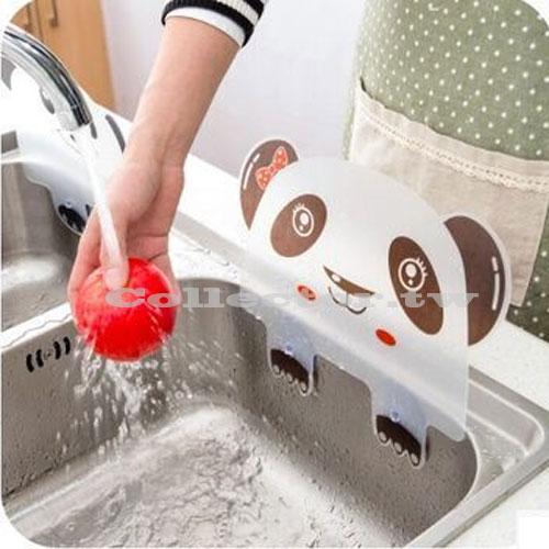 【N16041901】創意廚房 熊貓造型附吸盤水槽防濺擋水板 炒菜防濺擋油板
