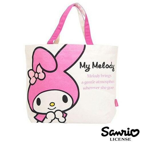 sightme看過來購物城:【日本正版】美樂蒂MyMelody帆布大提袋手提袋肩背包三麗鷗Sanrio-021032