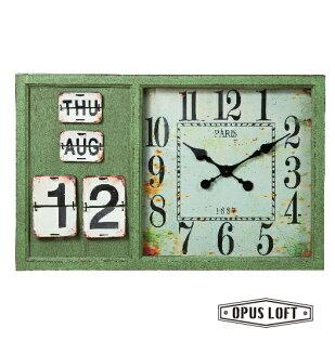 純真年代Opus Loft:復古LOFT工業風仿舊綠色日曆大掛鐘
