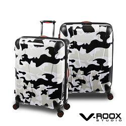 展示出清 V-ROOX AXIS 28吋 原創設計可擴充行李箱 硬殼防爆雙層拉鏈旅行箱-黑白迷彩