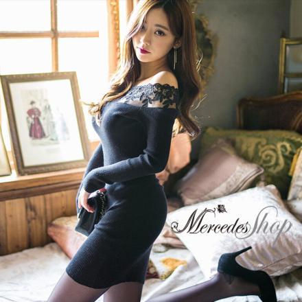 《早春新品5折》早春韓國性感蕾絲拼接針織一字領長袖洋裝 - 梅西蒂絲(現貨+預購)