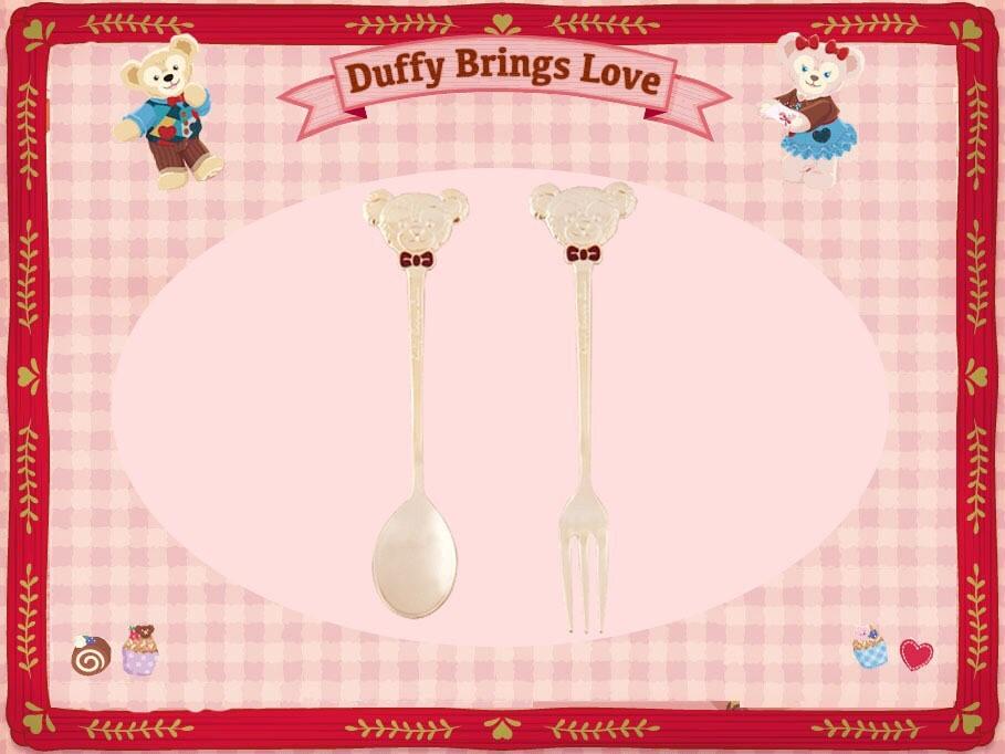 【真愛日本】16012800014 甜蜜情人節-精緻湯叉組 2016情人節 達菲 雪莉玫 Duffy熊 湯匙 叉子