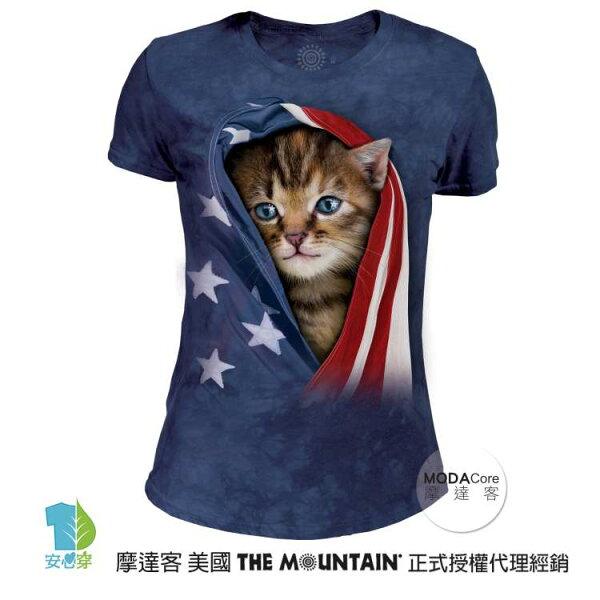 【摩達客】(預購)美國TheMountain都會系列愛國小貓圓領修身女版短T