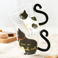 婚禮小物推薦到慵懶黑白貓玻璃咖啡杯 情侶對杯 可愛動物玻璃馬克杯 杯子 日式創意生活雜貨小物 生日禮物 辦公室小物 婚禮小物 《波卡小姐 貓咪小物》 FD0029