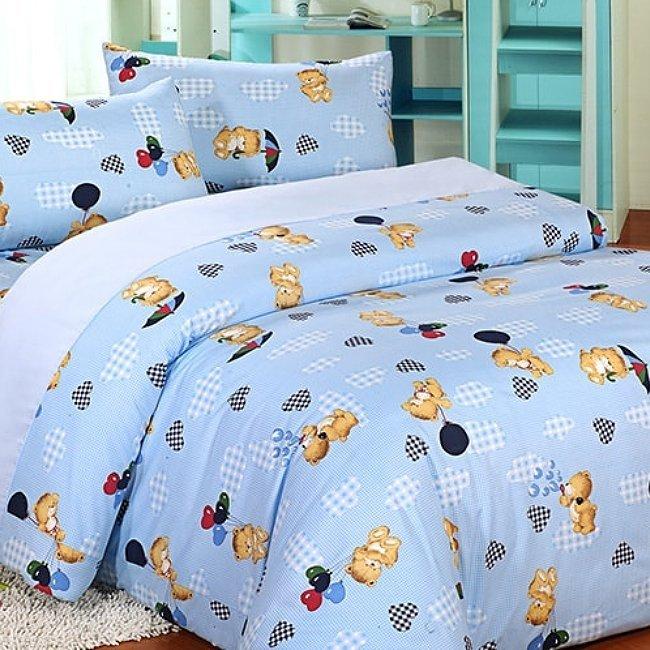 台灣製蜜桃絨磨毛處理雙人薄被套床包組【藍色小熊】100%超細纖維面料 觸感平順柔軟~華隆寢飾