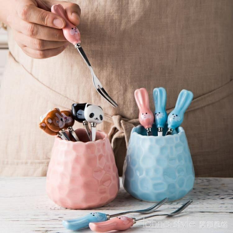 創意卡通陶瓷柄不銹鋼水果叉家用水果簽插時尚甜品叉子蛋糕叉套裝