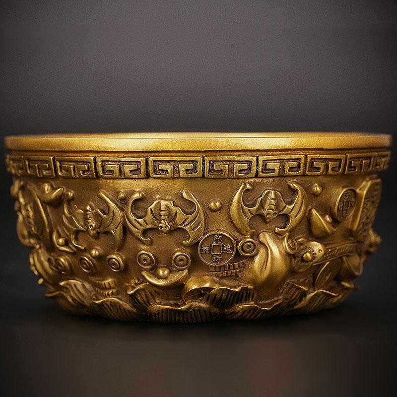 匠澤銅魂 純銅聚寶盆擺件辦公室客廳風水招財家居裝飾品開業禮品