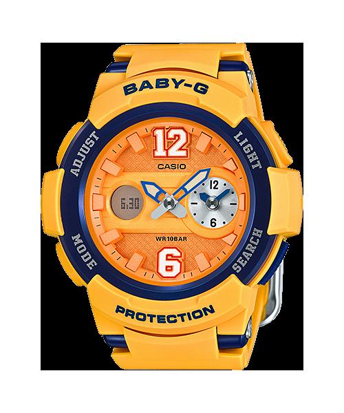 國外代購 CASIO Baby-G BGA-210-4B 少女時代城市簽名限定版 女錶 手錶 腕表 情侶錶 黃x深藍