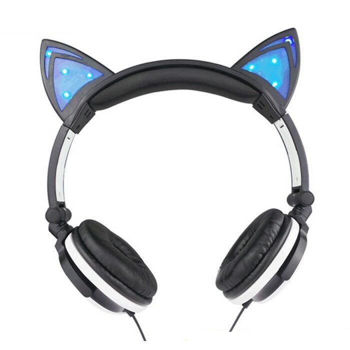tangyizi輕鬆購【DS129】創意個性發光貓耳朵造型耳機 頭戴式貓耳耳機