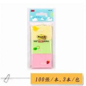 3M 653-3C (3色3本包)利貼 可再貼便條紙