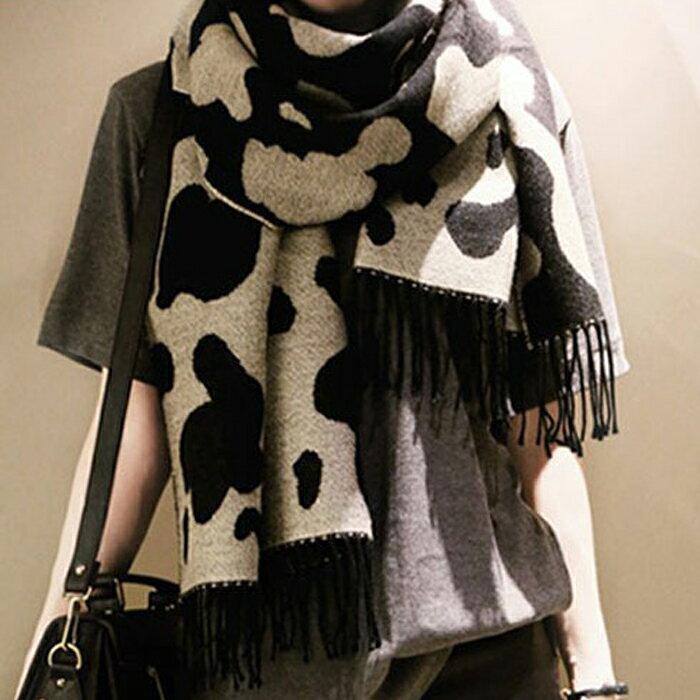 糖衣子輕鬆購【DS215】韓版大豹紋牛奶圖案披肩仿羊絨圍巾
