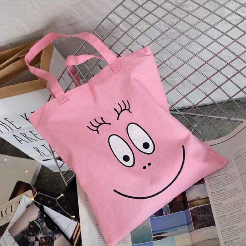 ~ 24HR出貨~泡泡先生手提袋 帆布袋 拉鍊包 收納袋 可清洗 粉色 泡泡先生 大學生