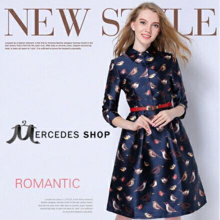 梅西蒂絲Mercedes Shop:《早秋新品5折》中長款歐美風高檔七分袖洋裝-S-XL-梅西蒂絲(現貨+預購)