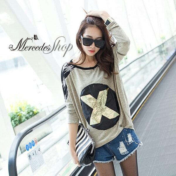 [現貨出清6折] 韓國東大門純色亮片造型T恤上衣 - 梅西蒂絲