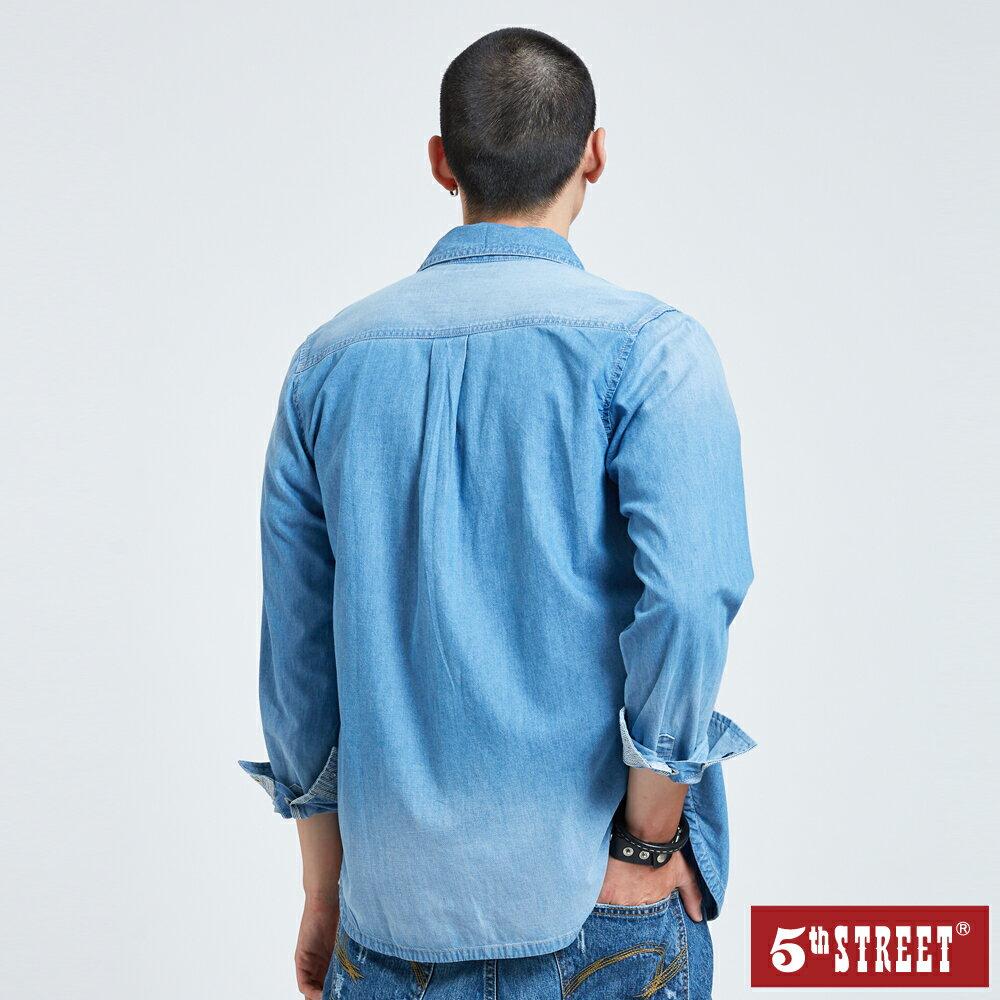 【5th STREET】男貼袋牛仔襯衫-拔洗藍 2