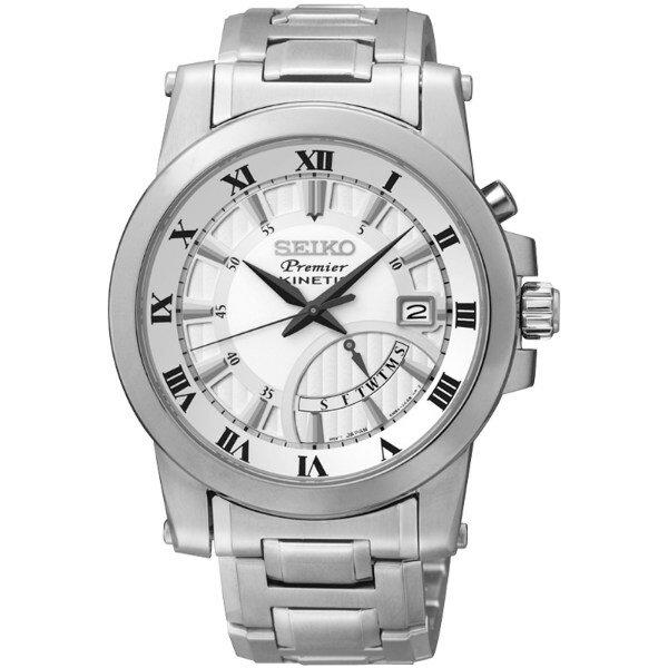Seiko Premier 5M84-0AA0S(SRN037J1)人動電能經典羅馬腕錶/白面41mm