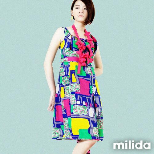 【Milida,全店七折免運】-春夏商品-無袖款-縮腰拉鍊洋裝 0