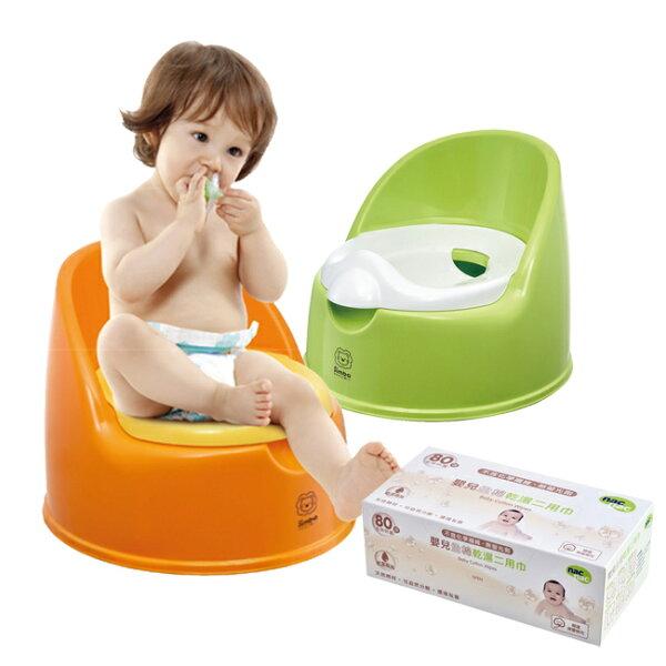 【奇買親子購物網】小獅王辛巴simba二合一學習便座+NacNac嬰兒全棉乾濕二用巾80抽