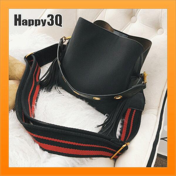 手提包斜背包流蘇包素面磨砂絨面大容量寬肩帶上課上學通勤包-棕綠黑【AAA3912】