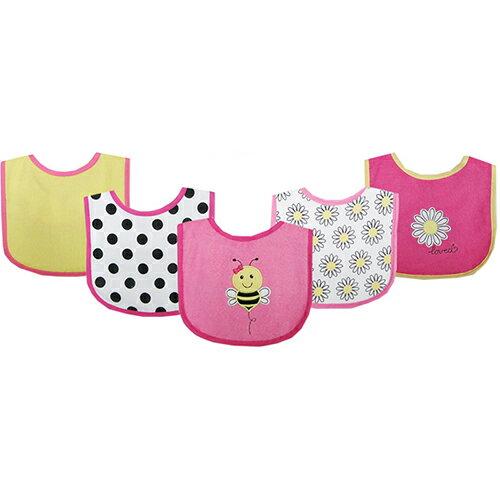 【HELLA 媽咪寶貝】美國 luvable friends 嬰幼兒口水巾(底層防水)圍兜5入組 小蜜蜂(02196-pink)