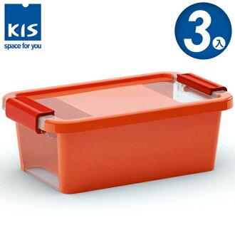 E&J【012011-03】義大利 KIS BI BOX 單開收納箱 XS 橘色 3入;收納盒/整理箱/收納櫃/玩具盒