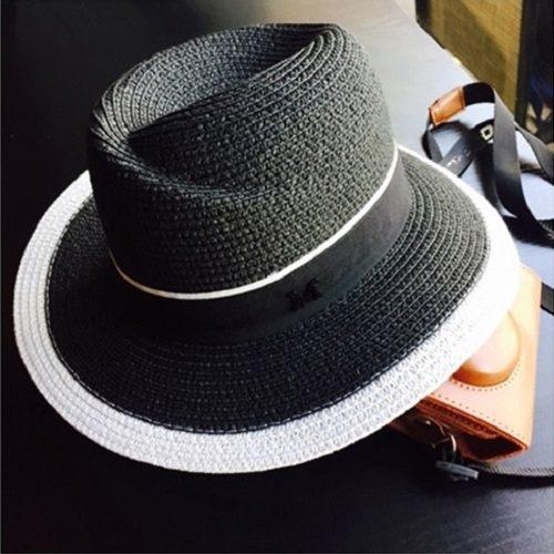 PS Mall 歐美草帽平頂禮帽子黑白禮帽包邊平頂帽【G2023】