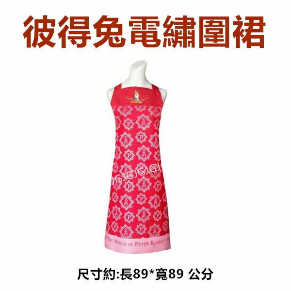 JG~紅色下單台灣製彼得兔圍裙電繡線框防潑水圍裙,比得兔圍裙二口袋格子圍裙廚房圍裙咖啡廳圍裙餐飲圍裙活動制服