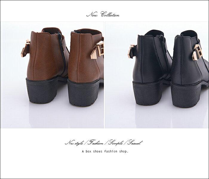 格子舖*【KD703B】MIT台灣製 金屬拉環光澤皮革 側拉鍊穿脫 5CM粗中跟短筒靴 工程靴 馬丁靴 2色 2