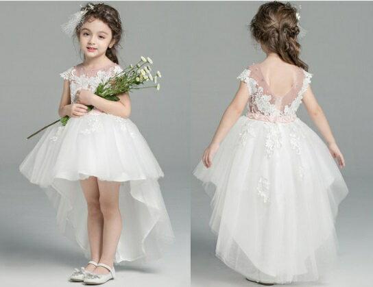 天使嫁衣【童L0250】透粉紗包肩清新白前短後女童禮服˙預購訂製款