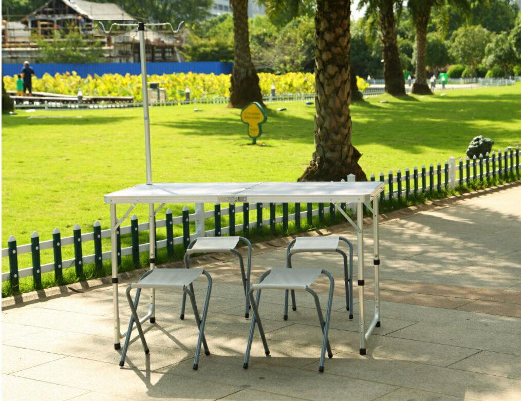 【露營趣】中和 TNR-205 鋁合金休閒桌附營燈柱 摺疊桌 野餐桌 露營桌 蛋捲桌(不含椅子)
