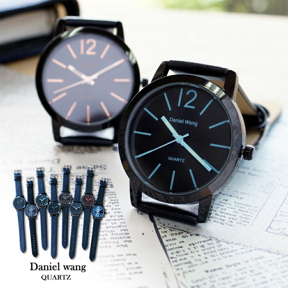 Daniel Wang 3127 簡約時尚刻度黑框圓盤皮革錶帶手錶