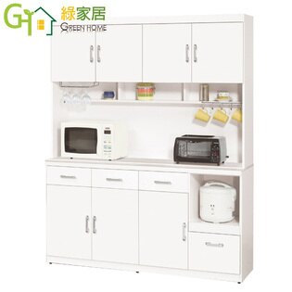 【綠家居】艾登絲時尚白5.4尺雲紋石面餐櫃收納櫃組合(上+下座)