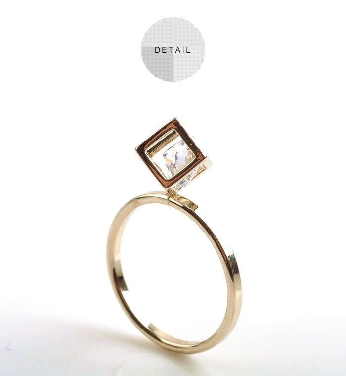 日本CREAM DOT  /  リング 指輪 ビジュー 立体 スクエア ラウンドカット 3D モチーフ レディース 重ね着け ゴールド シルバー 華やか 結婚式 outlet  /  qc0118  /  日本必買 日本樂天直送(400) 5