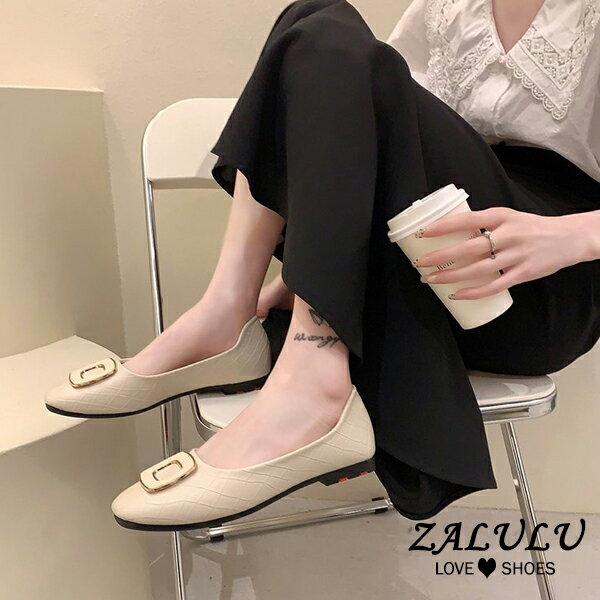 10CE476 預購 經點交叉格紋方扣舒適平底鞋-3色-35-40【ZALULU愛鞋館】