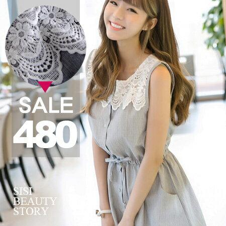 SISI【D6043】韓版無袖開襟抽繩縮腰顯瘦綁帶背心連身裙洋裝