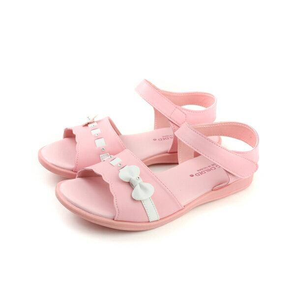 小女生鞋 涼鞋 粉紅 大童 no142