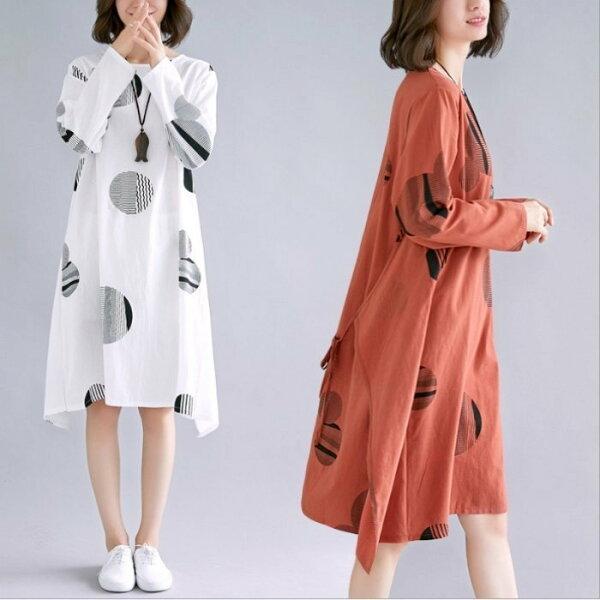 *漂亮小媽咪*原創文藝棉麻長袖圓圈圈腰部繫帶孕婦裝洋裝連身裙D9966