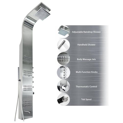 AKDY Stainless Steel Shower Themostatic Panel AZT8727 Rain Style Massage System 0
