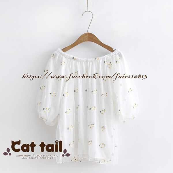 《貓尾巴》TS-0730日系花朵刺繡蕾絲紗短袖上衣(森林系日系棉麻文青清新)