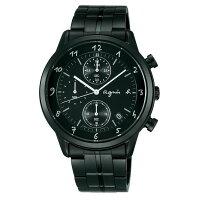 agnès b.到agnes b VD57-00A0SD(BM3002J1)炫黑時尚計時腕錶/黑面40mm