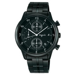 agnes b VD57-00A0SD(BM3002J1)炫黑時尚計時腕錶/黑面40mm