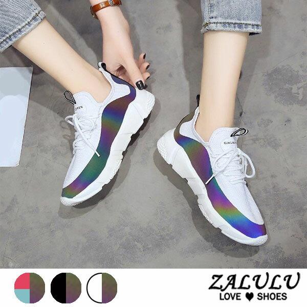 ZALULU愛鞋館7DE205預購酷炫玩色綁帶休閒運動布鞋-偏小-白炫彩黑-36-39