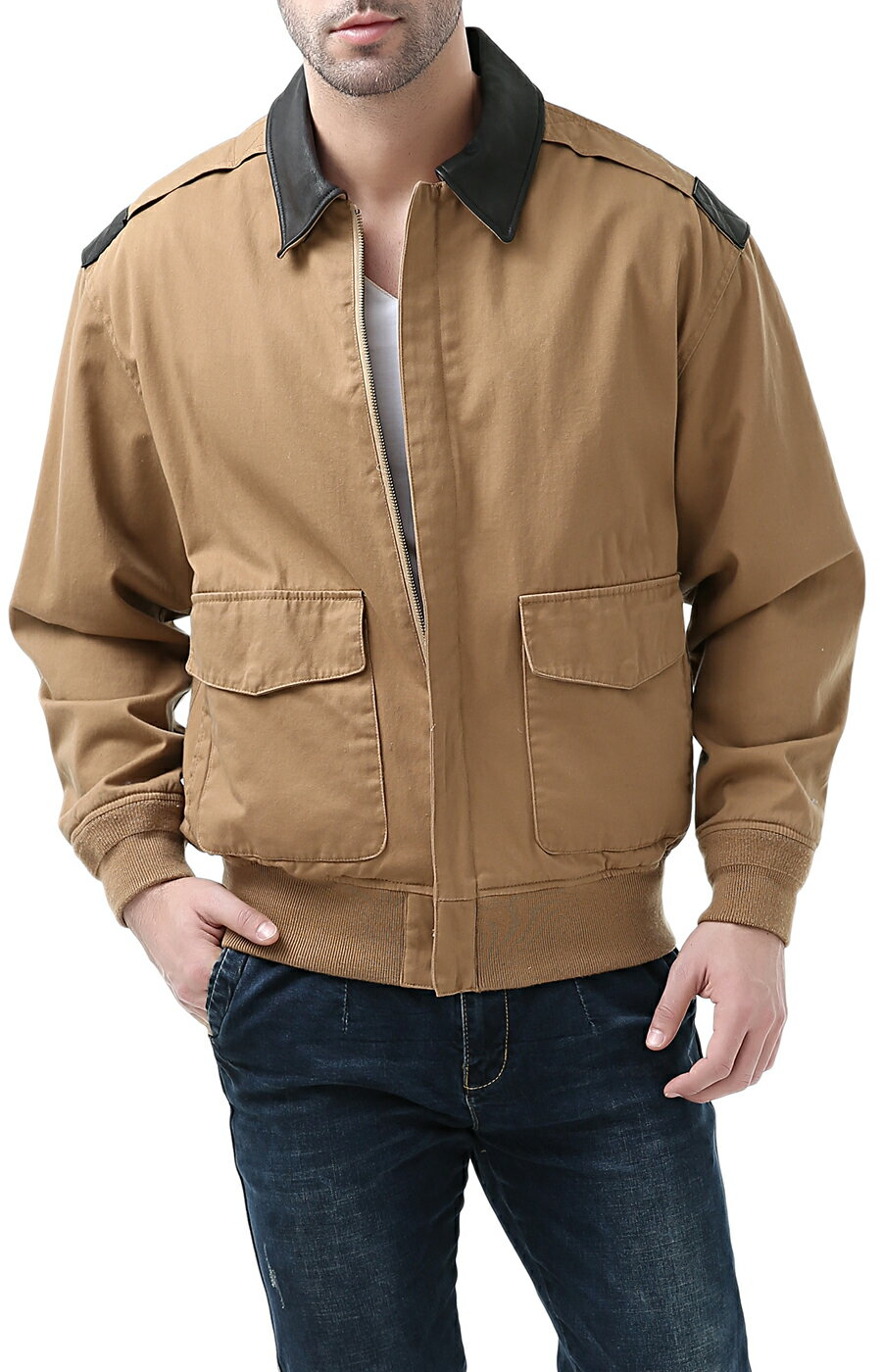 5a9775050 Landing Leathers Men's Air Force A-2 Leather Trim Bomber Jacket