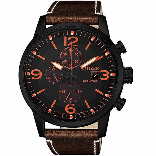 富茂鐘錶 CITIZEN Eco-Drive 光動能三眼計時爵士皮革男腕錶 43mm /  CA0617-11E