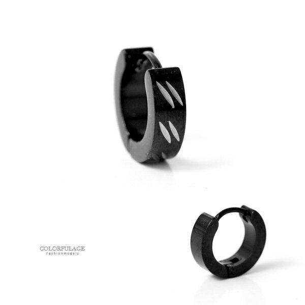 耳環鋼製6銀斜線黑色耳針耳環柒彩年代【ND579】單支